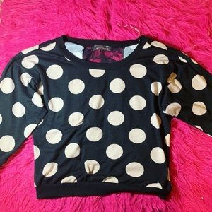 ALMOST FAMOUS Polka dot lace top